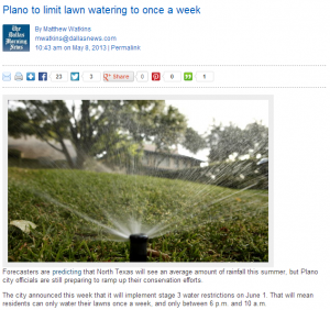 Lawn Care in Plano, TX to Become More Challenging with New Water Usage Restriction